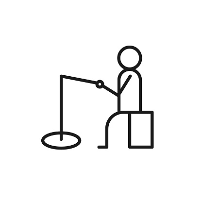 Isolated black line icon of fisher on white background. Outline winter fishing icon. Logo flat design. Winter entertainment. Side view.