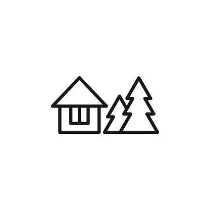 Isolated black line icon of rural house with christmas trees on white background. Outline cottage icon. Logo flat design.