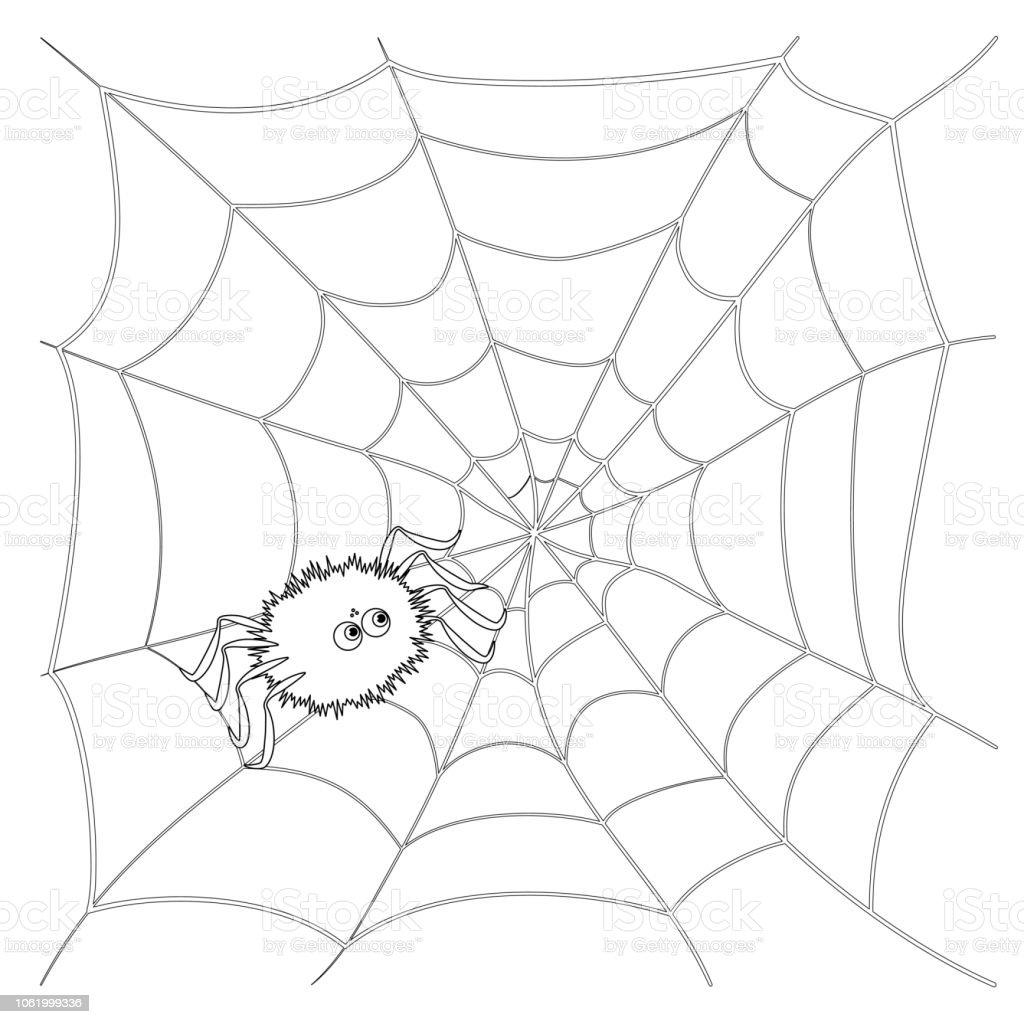 Izole Siyah Anahat Karikatur Orumcek Web Uzerinde Beyaz Arka Plan