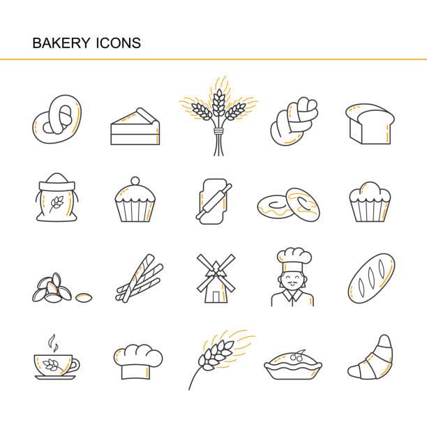 isolierte schwarzen umriss sammlung ikonen der croissant, brot, kuchen, ohr weizen, koch, mühle, cup, cupcake, brezel, entlassen challah, garbe, gap koch, nudelholz, mehl, donut. satz von liniensymbol bäckerei. - brotzopf stock-grafiken, -clipart, -cartoons und -symbole
