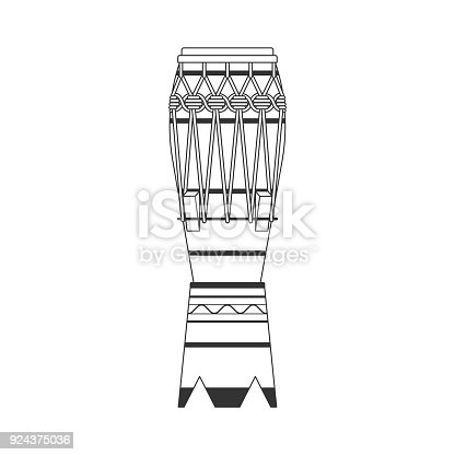 istock Isolated black outline decorative ornate atabaque on white background. Line brazilian musical instrument for bateria of capoeira. 924375036