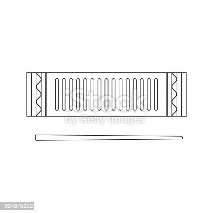 istock Isolated black outline decorative ornate reco-reco on white background. Line brazilian musical instrument for bateria of capoeira. 924375252