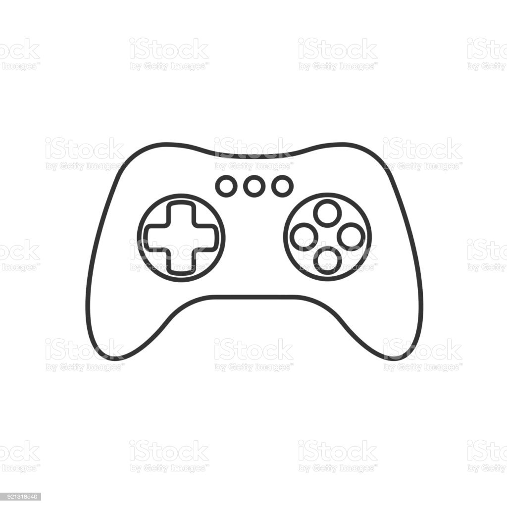 Isolated Black Outline Gamepad Game Controller Joystick Console On - Video game outline