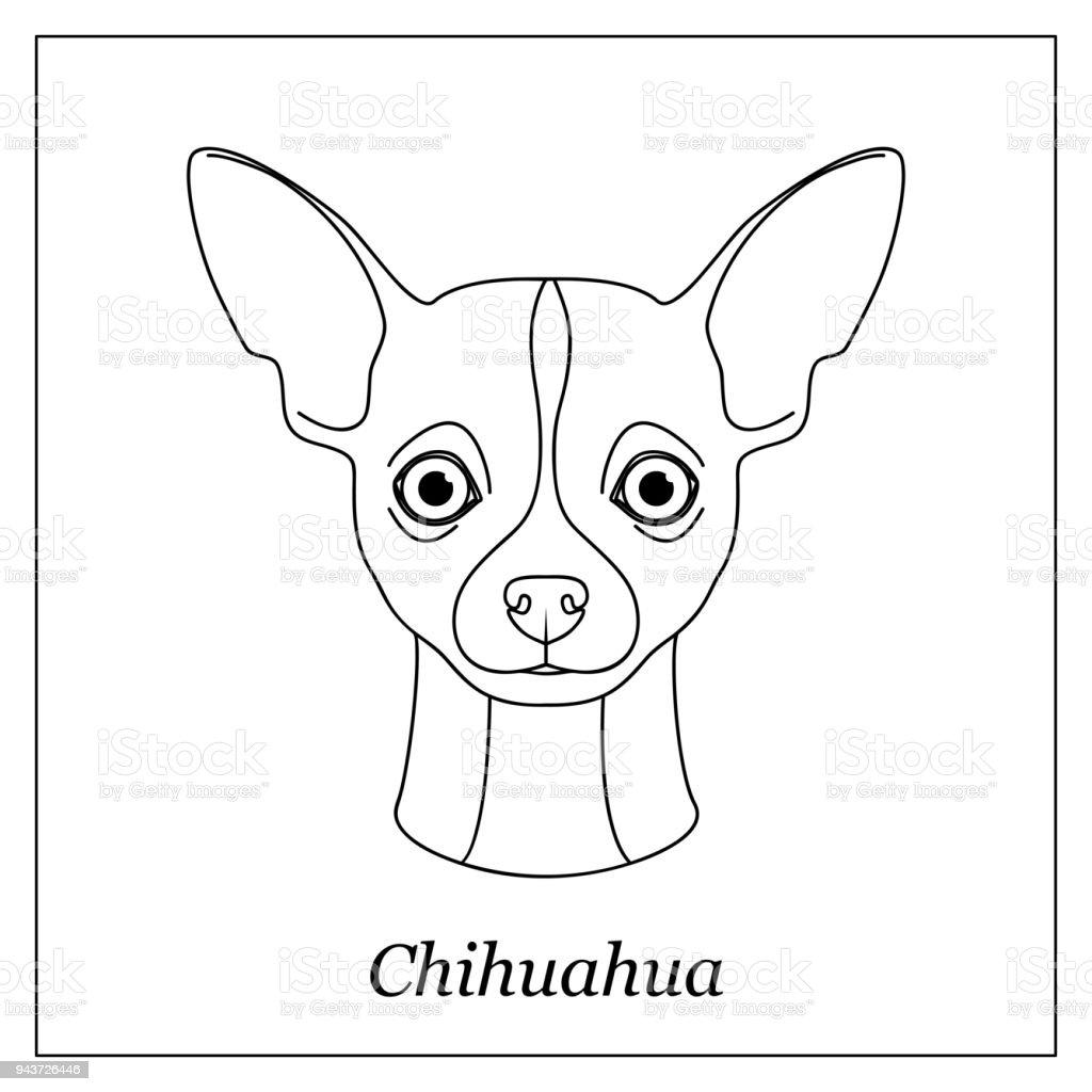 Ilustración de Cabeza De Contorno Negro Aisladas De Chihuahua Sobre ...