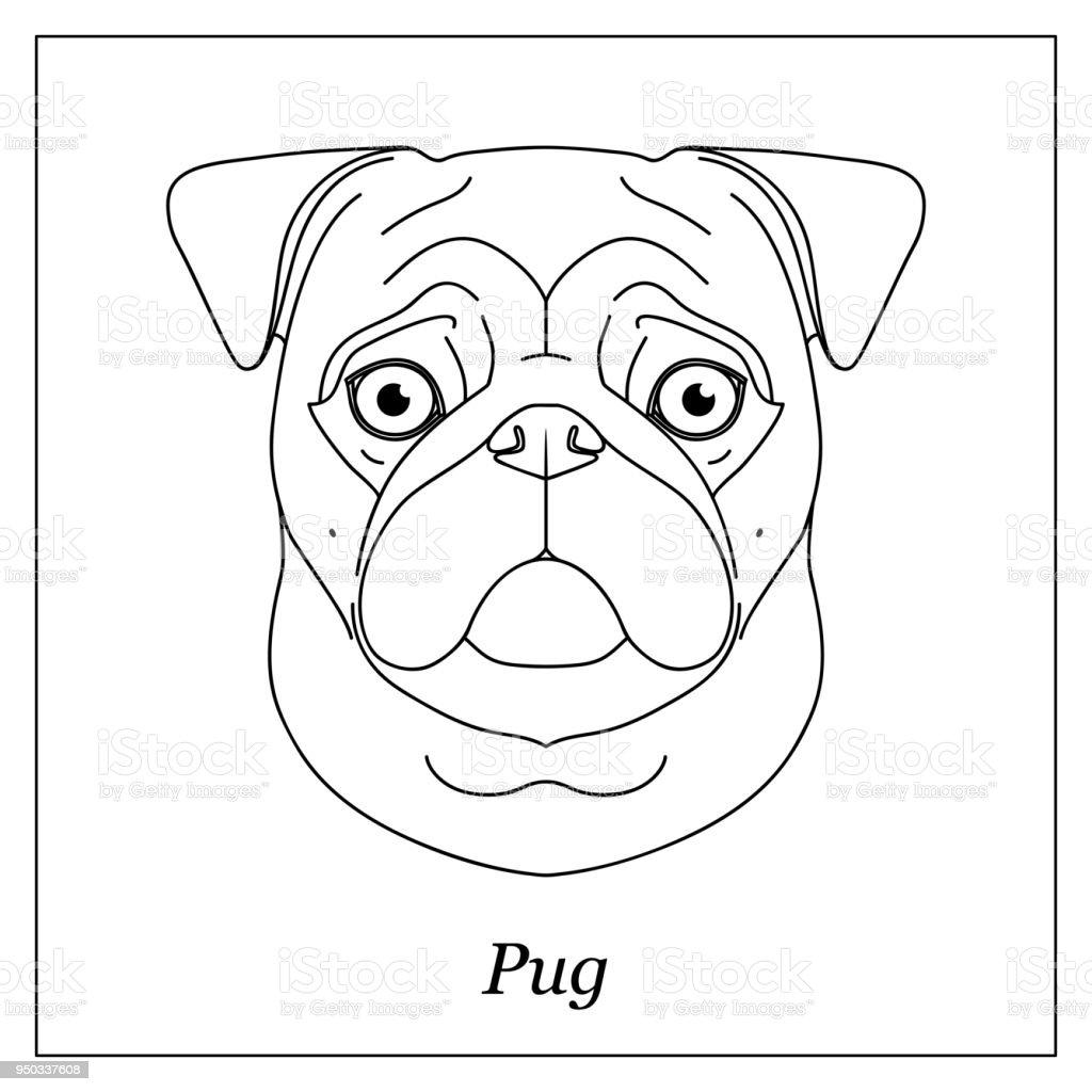 Ilustración de Cabeza De Contorno Negro Aislado De Perro Pug Mops ...