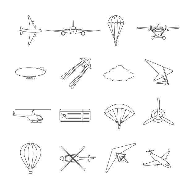 ilustrações de stock, clip art, desenhos animados e ícones de isolated black outline hydroplane, airplane, parachute, helicopter, propeller, hang-glider, dirigible, paraglide, balloon. set of line aviation icon. - parapente