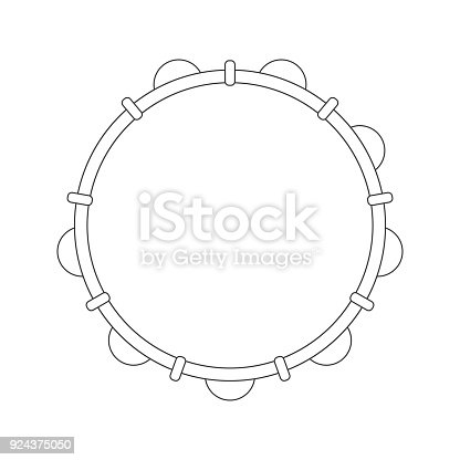istock Isolated black outline tambourine, pandeiro on white background. Line brazilian musical instrument for bateria of capoeira. View from above. 924375050