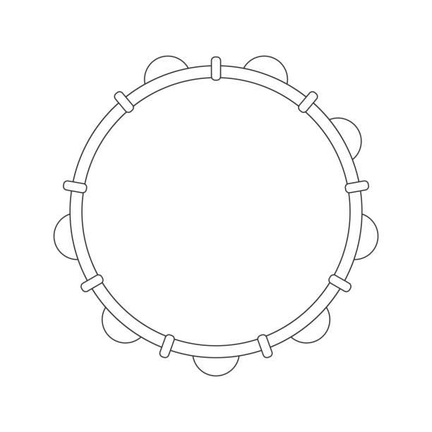 stockillustraties, clipart, cartoons en iconen met geïsoleerde zwarte omtrek tamboerijn, pandeiro op witte achtergrond. lijn braziliaanse muziekinstrument voor bateria van capoeira. bekijk van bovenaf. - tamboerijn