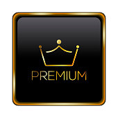 Isolated black premium label with a crown icon over a white background - Vector