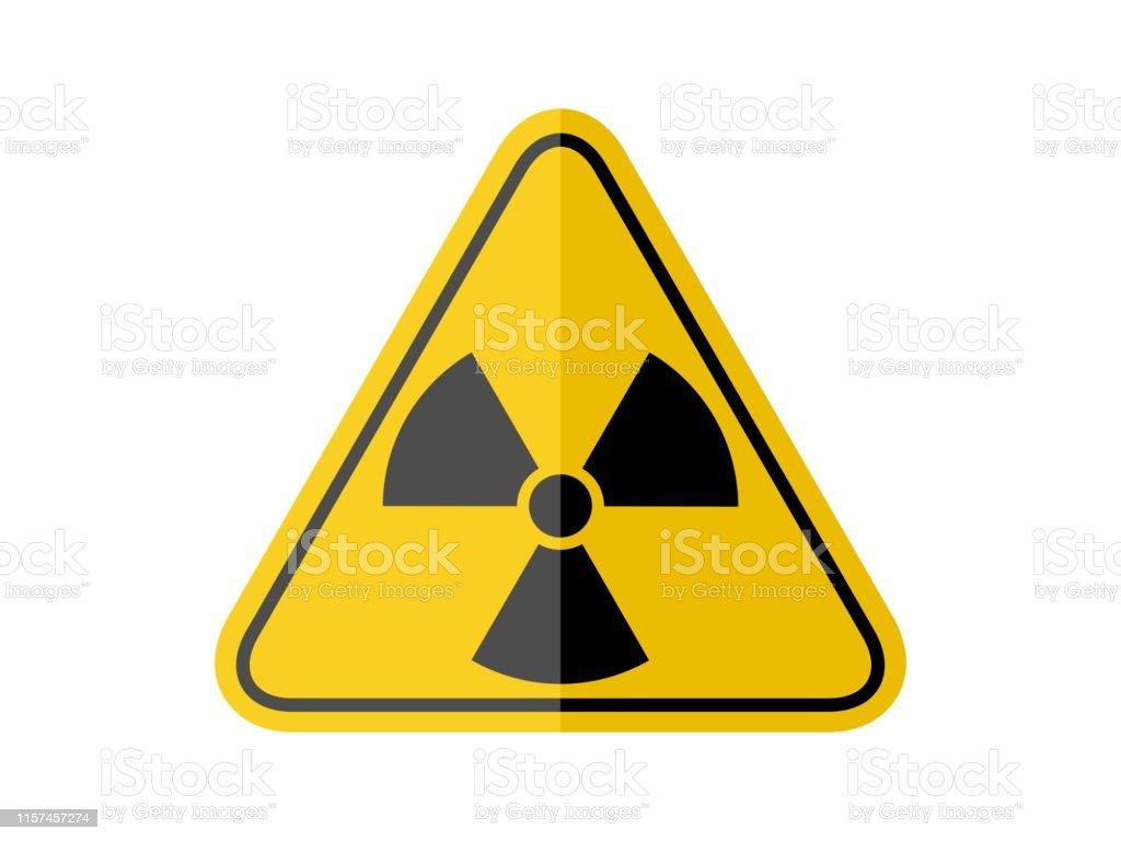 isolated black radiation hazard sign on yellow round triangle board...