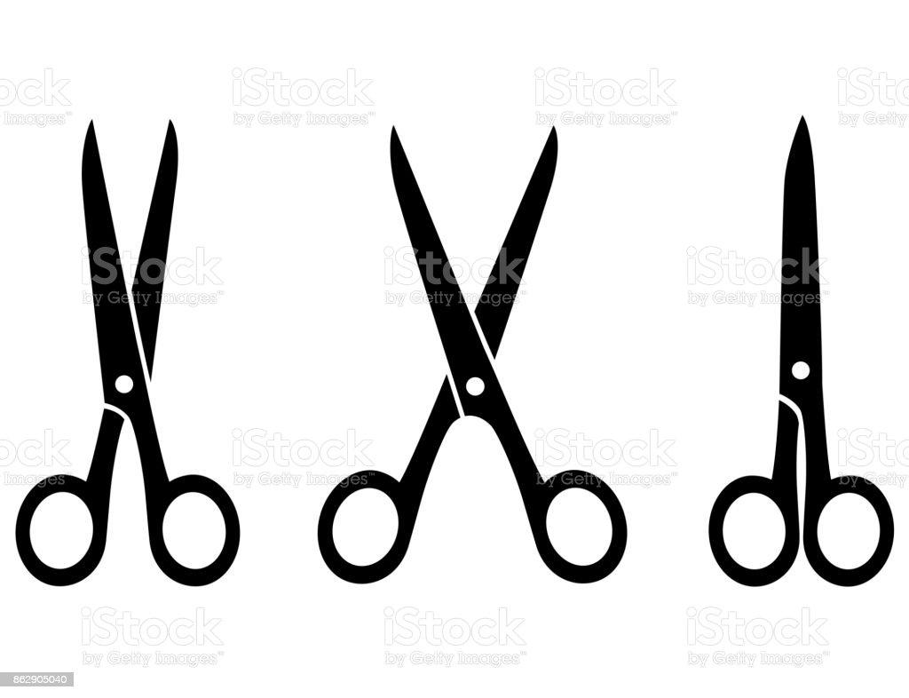 isolated black scissors - arte vettoriale royalty-free di Acciaio