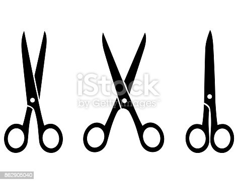 three isolated black scissors on white background