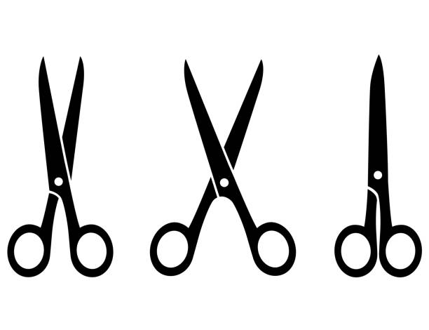 isolated black scissors three isolated black scissors on white background scissors stock illustrations