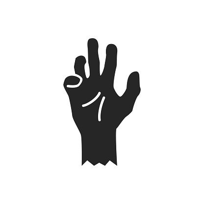 Isolated black silhouette of a zombie hand on a white background. Vector flat illustration.