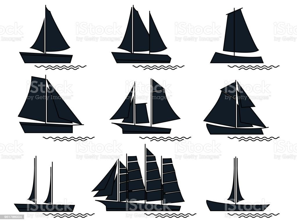 isolated black silhouette sail boat vector design element for