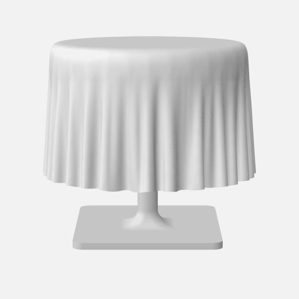 ilustrações de stock, clip art, desenhos animados e ícones de isolated blank round table with tablecloth in white color for design - top view, wood table, empty