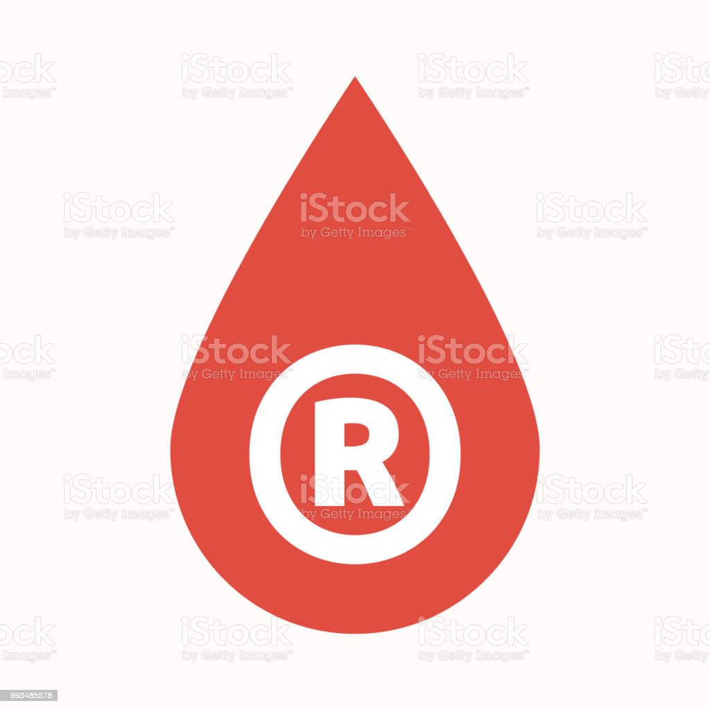 Isolated Blood Drop With The Registered Trademark Symbol Stock