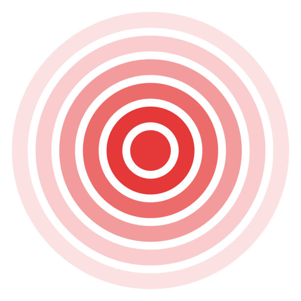isolated bold vector red ring. pain circle. symbol of pain. - концентрический stock illustrations