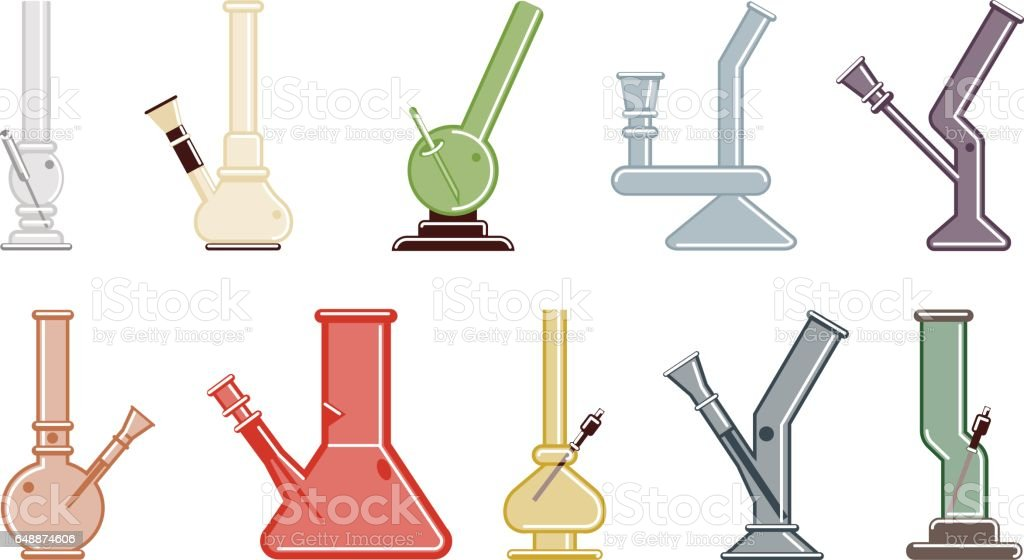 Isolated bongs set. vector art illustration