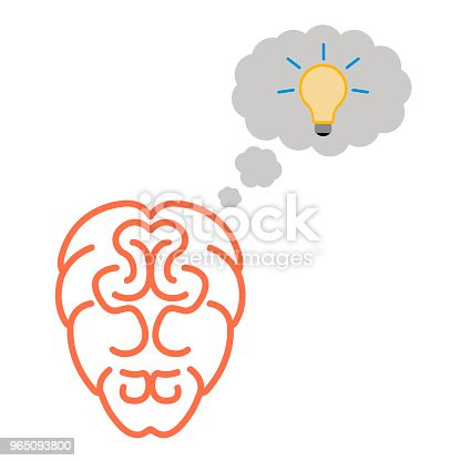 Isolated Brain Icon Stock Vector Art & More Images of Bright 965093800