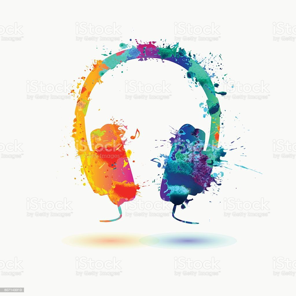 Isolated bright  icon of  watercolor headphone vector art illustration