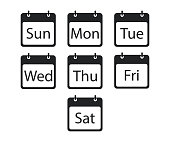 Isolated callendar days of the week. Flat black day banners on white background.