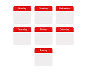 Isolated callendar days of the week. Flat red day banners on white background.