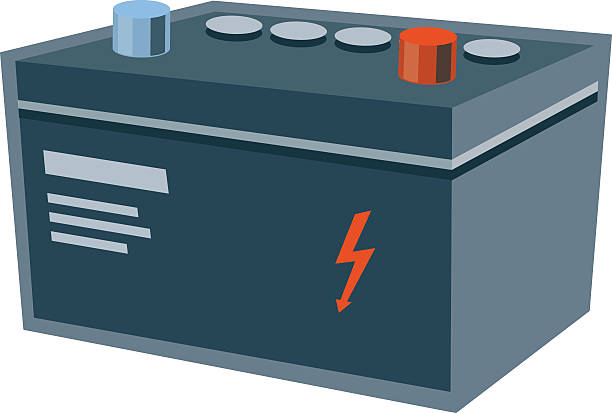 Isolated Car Electric Battery vector art illustration