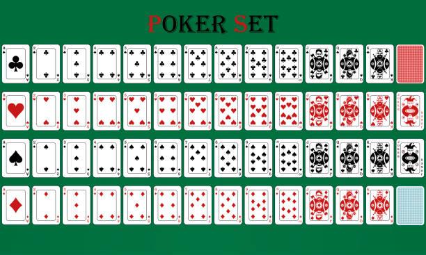 isoliertes kartenspiel mit umgekehrtem, auf grünem hintergrund - holzdeck stock-grafiken, -clipart, -cartoons und -symbole