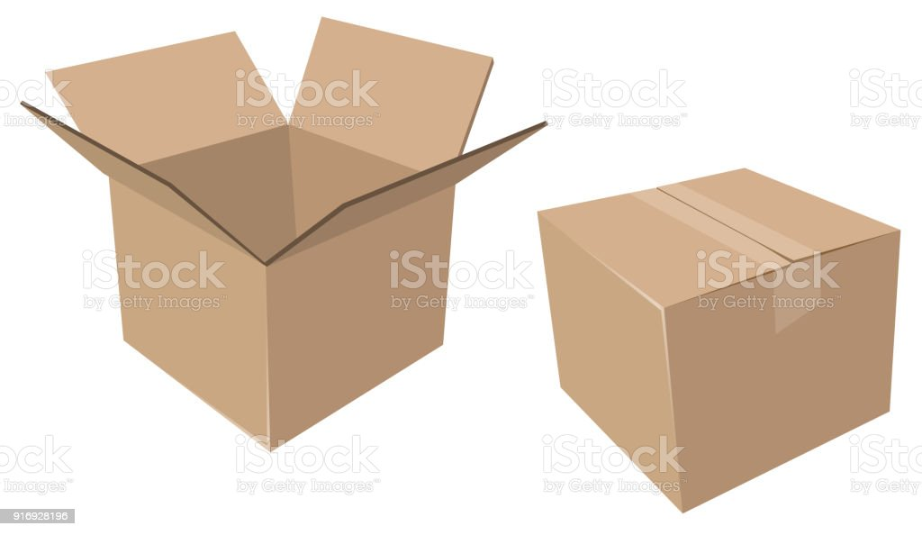 Isolated Cardboard Moving Boxes, Open and Closed vector art illustration