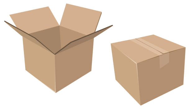 isolated cardboard moving boxes, open and closed - boxes stock illustrations, clip art, cartoons, & icons