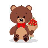 Isolated cartoon cute funny elegant romantic brown bear in bow tie with bouquet of red tulips in sitting pose on white background in flat style. Vector holyday character illustration, children design.