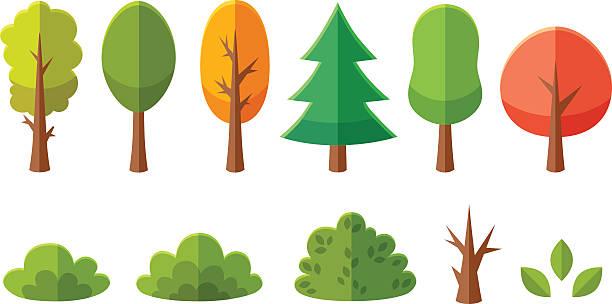 Isolado desenho de árvores e arbustos pacote - ilustração de arte em vetor