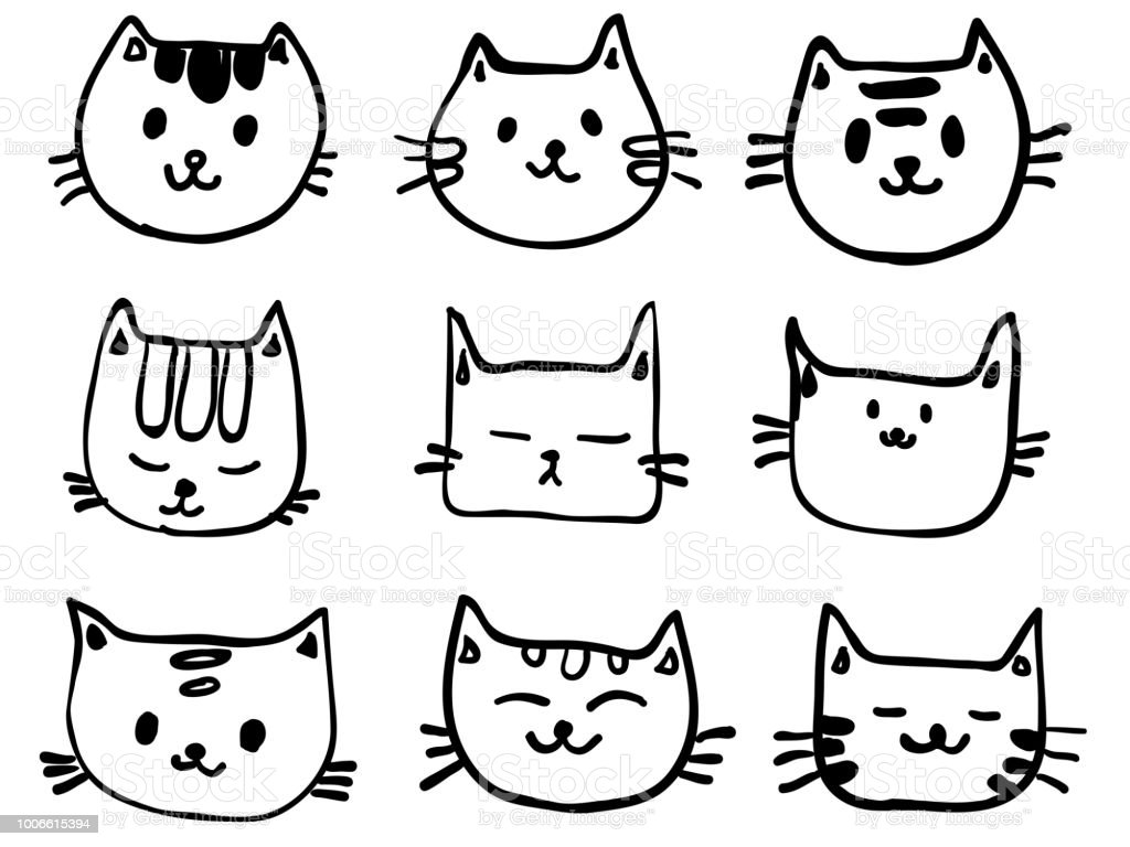 Isolated Childish Line Cute Cat Face Cartoon Set For Background