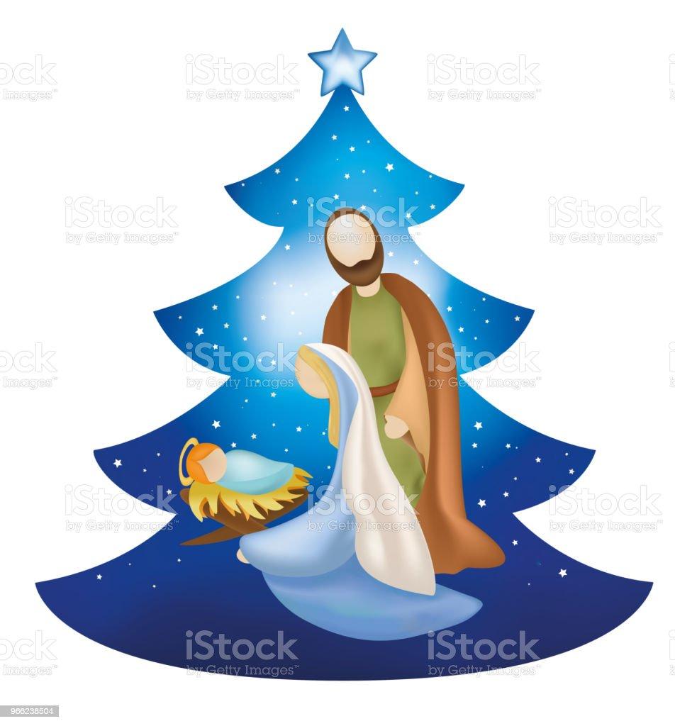 Imagenes Sagrada Familia Navidad.Ilustracion De Arbol De Navidad Aislado Pesebre Con La
