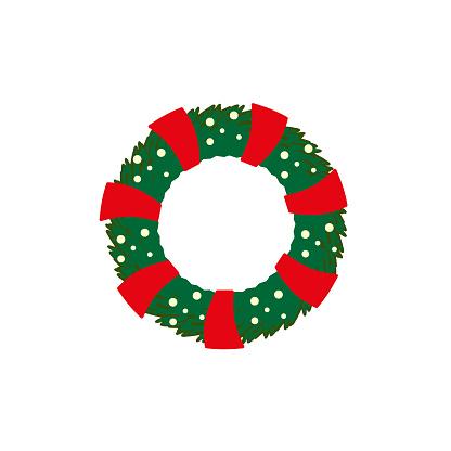Isolated Christmas wreath on white background flat style