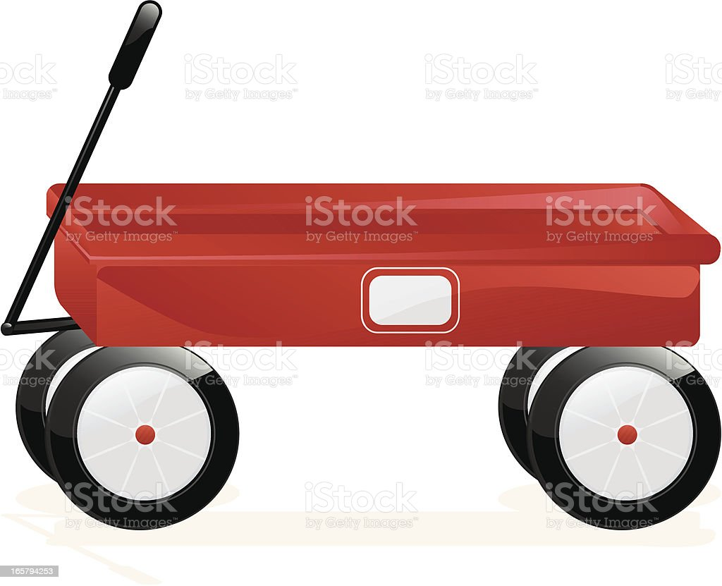 Isolated Classic 3D Red Wagon royalty-free stock vector art