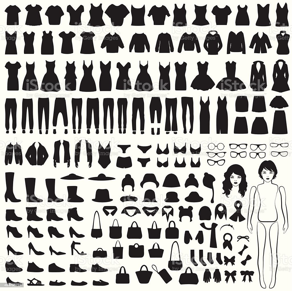 isolated clothing silhouette vector art illustration