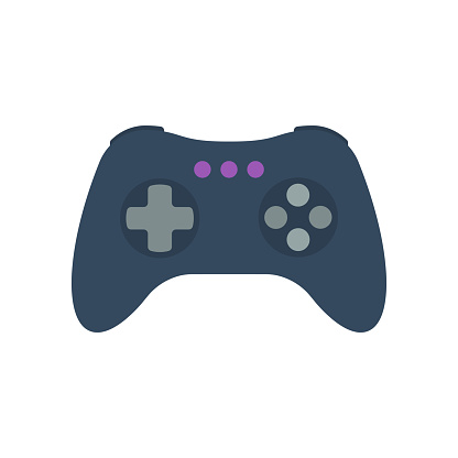 Isolated colored gamepad, game controller, joystick, console on white background. Flat design icon.