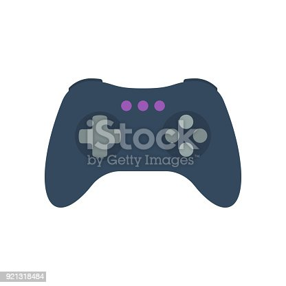 Isolated colored gamepad, game controller, joystick, console on white background. Flat design icon