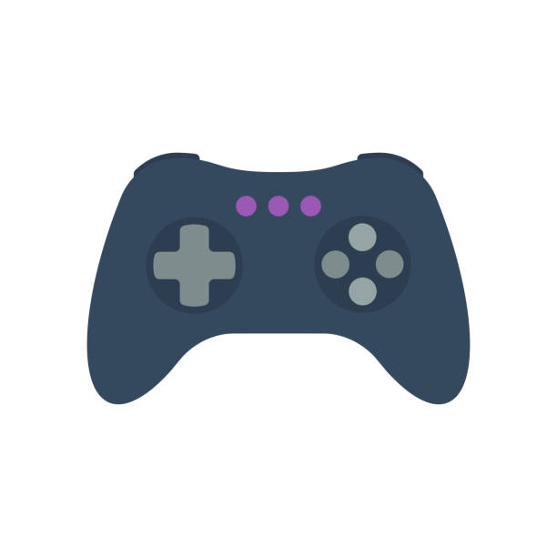 Isolated colored gamepad, game controller, joystick, console on white background. Flat design icon. Isolated colored gamepad, game controller, joystick, console on white background. Flat design icon video game stock illustrations