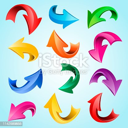 Vector set of colorful curved 3d glossy arrows, isolated on blue background.