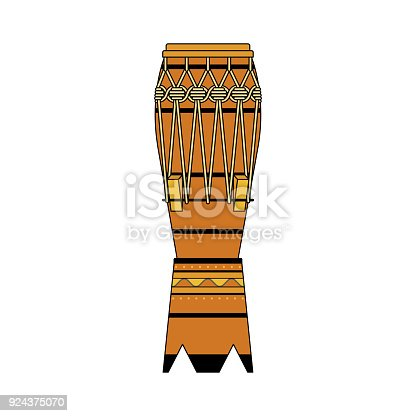 istock Isolated colorful decorative ornate atabaque on white background. Colored brazilian musical instrument for bateria of capoeira. 924375070