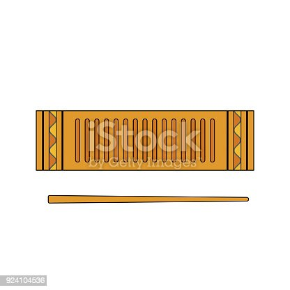 istock Isolated colorful decorative ornate reco-reco on white background. Colored brazilian musical instrument for bateria of capoeira. 924104536