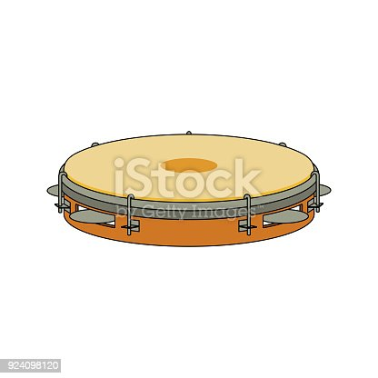 istock Isolated colorful decorative ornate tambourine, pandeiro on white background. Colored brazilian musical instrument for bateria of capoeira. Side view. 924098120