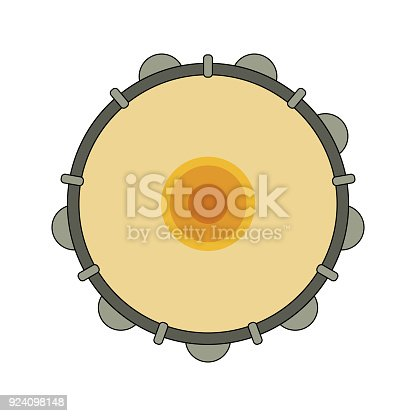 istock Isolated colorful decorative ornate tambourine, pandeiro on white background. Colored brazilian musical instrument for bateria of capoeira. View from above. 924098148