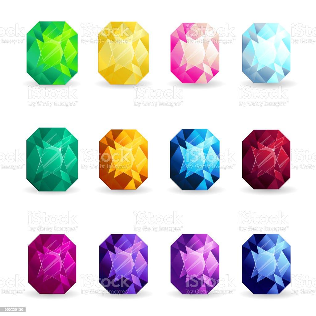 Conjunto de piedras preciosas coloridas aisladas de forma de cojín.  Ilustración vectorial para el diseño b9cd0f8499