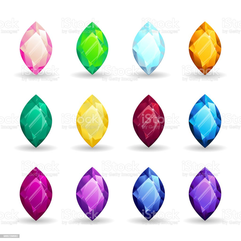 a97967cb569a Ilustración de Conjunto De Piedras Preciosas Coloridas Aisladas De ...