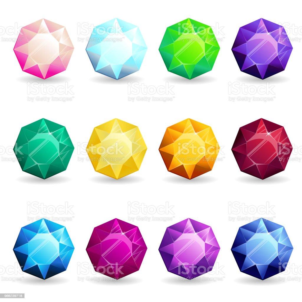 Conjunto de piedras preciosas coloridas aisladas de forma de octágono.  Ilustración vectorial para el diseño 028713bdb1