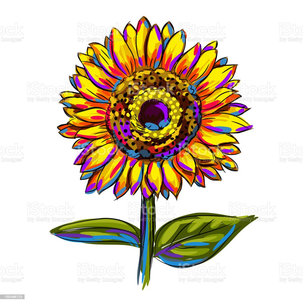 Isolated Colorful Sunflower Stock Illustration - Download ...